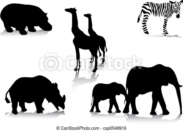 African animal silhouettes - csp0549916