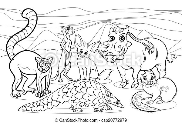 African Animals Cartoon Coloring Page Black And White Cartoon