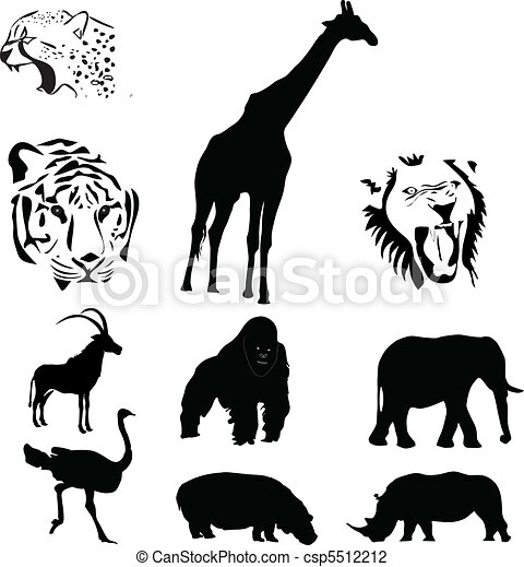 18 >> African animals collection vector vector illustration - Search Clipart, Drawings, and EPS ...