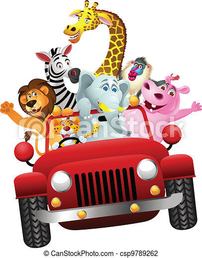 African animals in red car - csp9789262