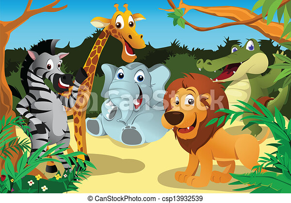 A Vector Illustration Of A Group Of Wild African Animals In The