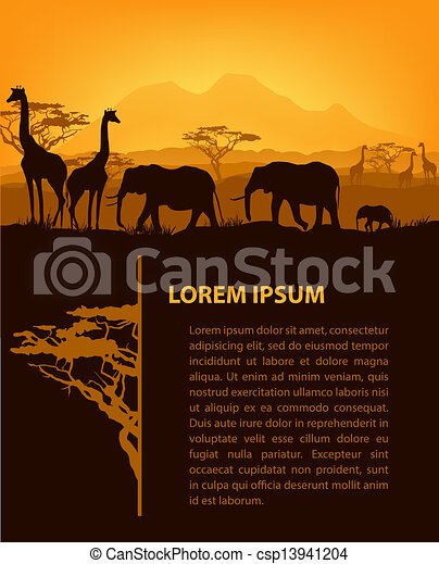 African animals silhouettes in sunset design template - csp13941204