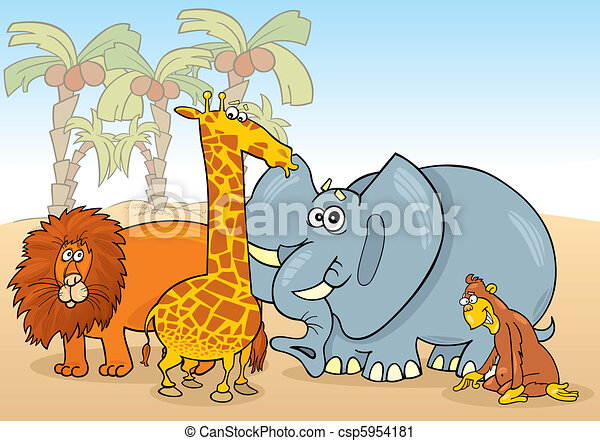 Line Drawings Of African Animals : Group of african animals illustration vector clip art search