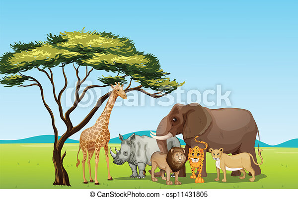 Illustration of african animals in savannah vector clipart african animals vector voltagebd Choice Image
