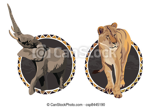 Line Drawings Of African Animals : African animals. frames with animal illustrations vector