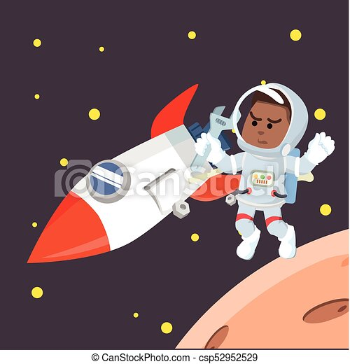 African astronaut fixing rocket - csp52952529