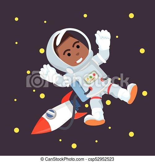 African astronaut in space - csp52952523