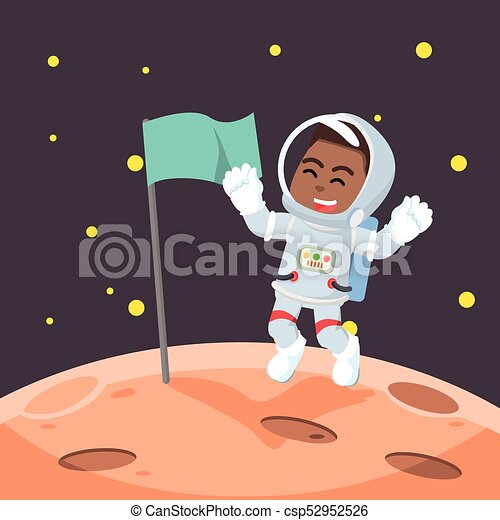 African astronaut putting the flag - csp52952526