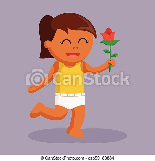 African baby girl with rose flower - csp53183884