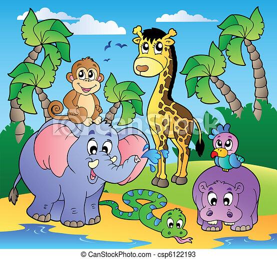 African beach with cute animals - csp6122193