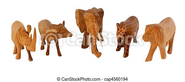 African big 5 in wood - csp4560194
