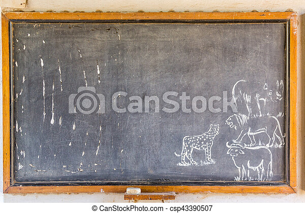 African blackboard with drawings of animals - csp43390507