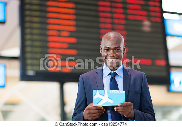african business traveler in airport - csp13254774