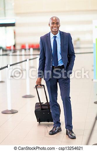 african business traveler in airport - csp13254621