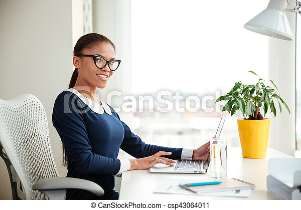 African business woman in office - csp43064011
