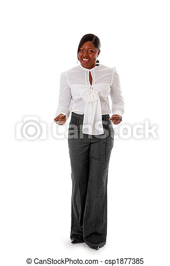 African business woman snapping fingers - csp1877385