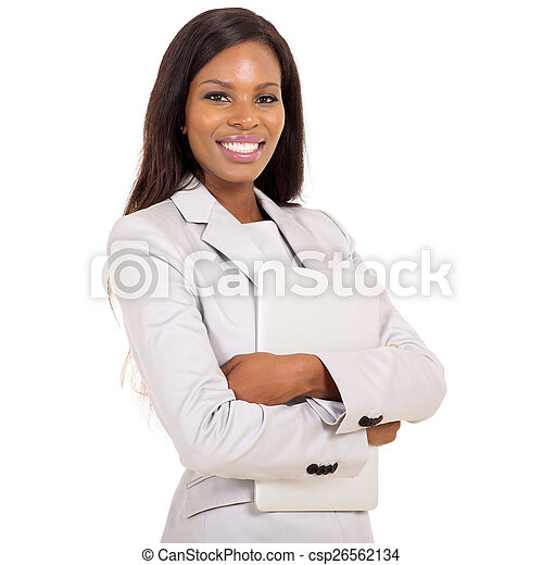 african business woman with laptop computer - csp26562134