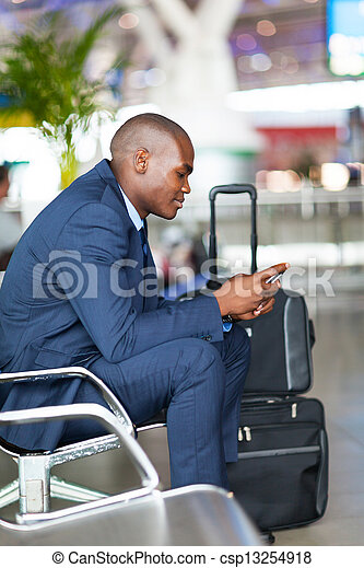 african businessman at airport - csp13254918