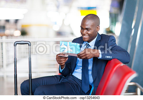 african businessman at airport - csp13254643