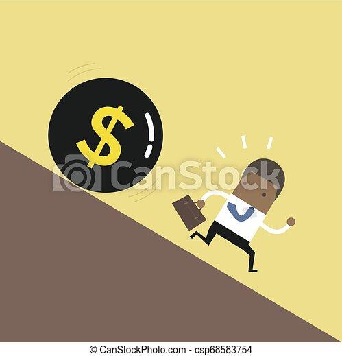 African businessman get away money ball down. - csp68583754