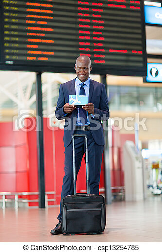 african businessman in airport - csp13254785