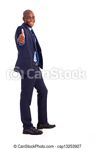 African businessman in suit giving thumb up - csp13253927