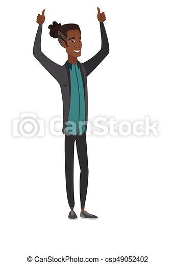 African businessman standing with raised arms up. - csp49052402