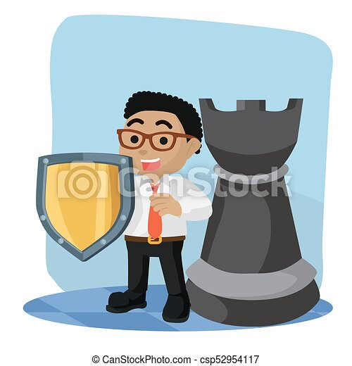 African businessman with shield and rook chess