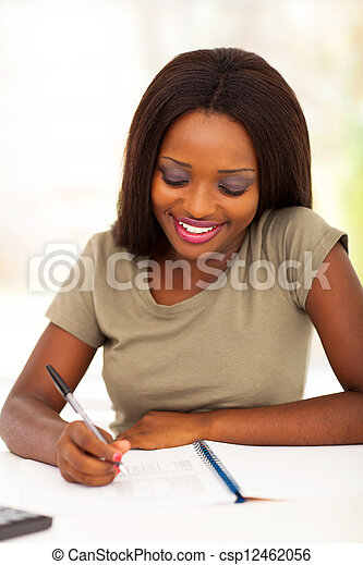 african college student studying - csp12462056