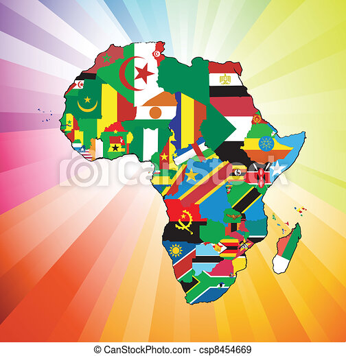African Continent Flag Map - csp8454669