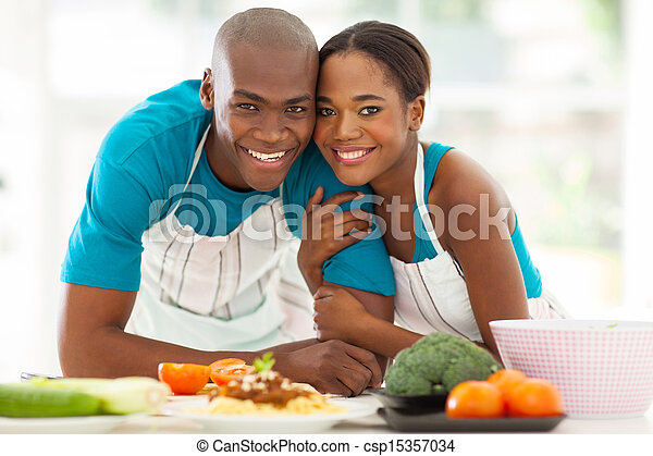 african couple in kitchen - csp15357034