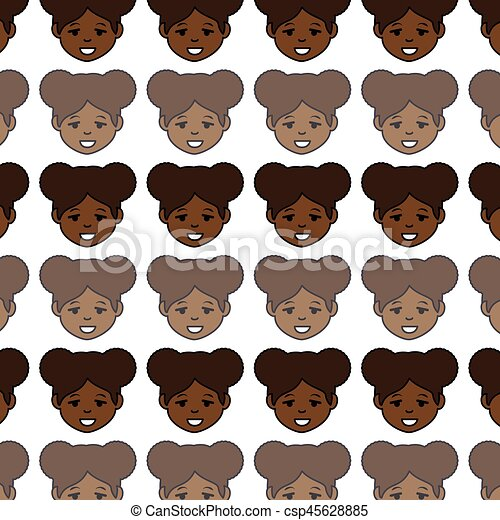 african cute woman ethnicity character - csp45628885