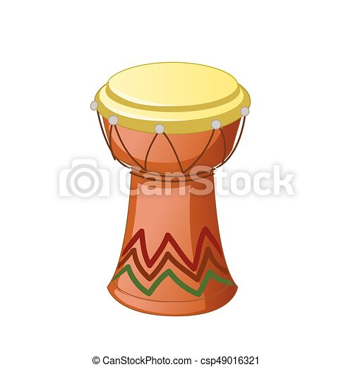 African Djembe Drum isolated on a white background. Vector illustration - csp49016321