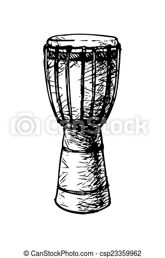 african djembe. Black and white drawing of a traditional ...