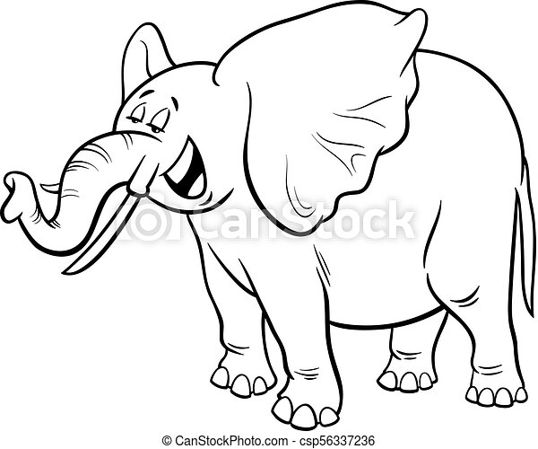 African elephant cartoon character coloring book. Black and white ...