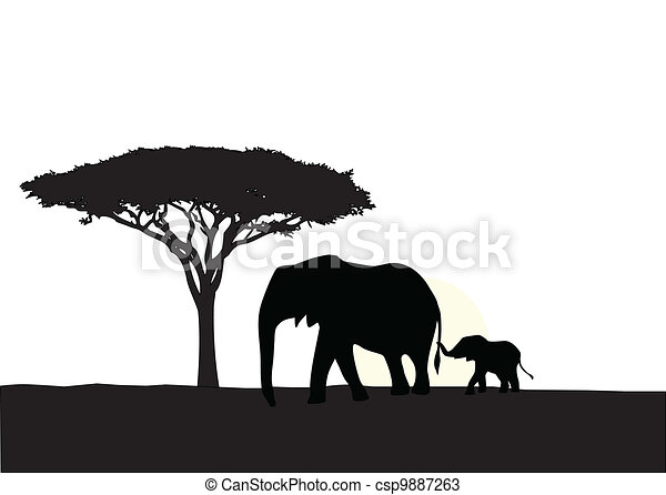 Vector Illustration Of African Elephant With Baby Silhouette