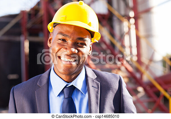 african engineer at industrial site - csp14685010
