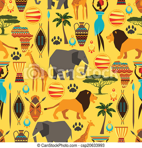 African ethnic seamless pattern with stylized icons. - csp20633993