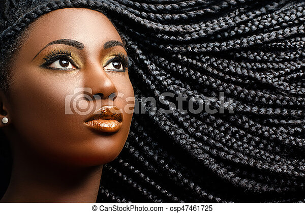 African female beauty with braided hair. - csp47461725