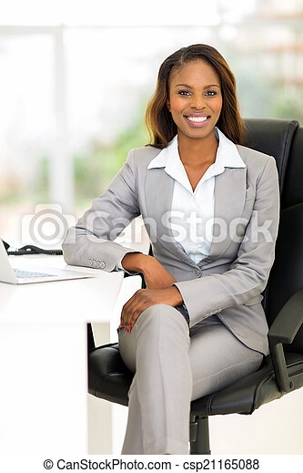 african female business executive in office - csp21165088