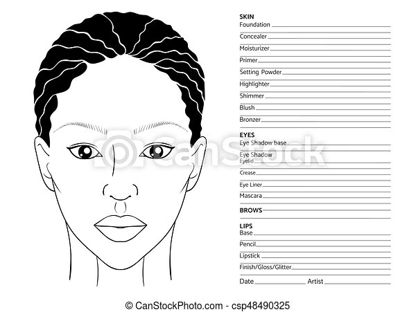 African Female Face Chart Blank For Professional Make Up Artists