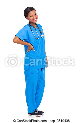 african female nurse isolated - csp13510438