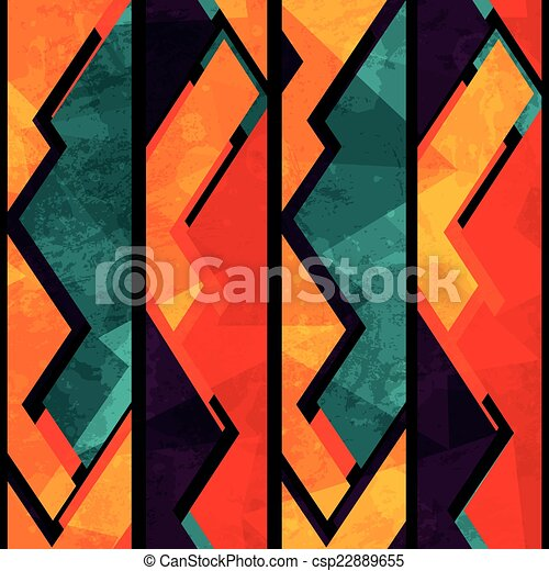 african geometric seamless pattern with grunge effect - csp22889655