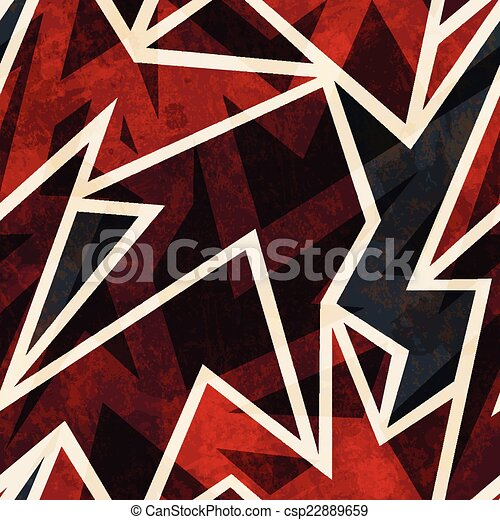 african geometric seamless pattern with grunge effect - csp22889659