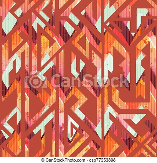 African geometric seamless pattern with grunge effect - csp77353898