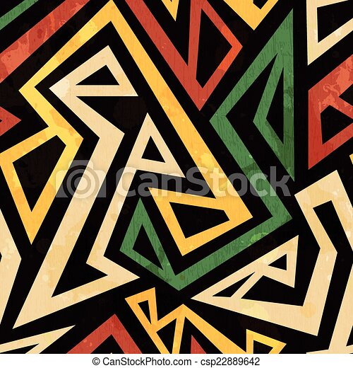 african geometric seamless pattern with grunge effect - csp22889642