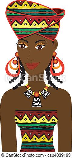 African Girl Avatar - csp4039193