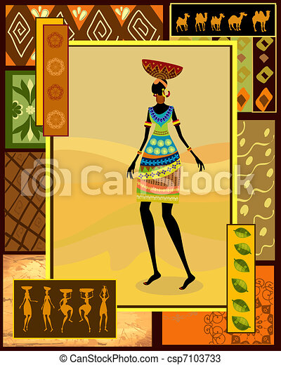 African girl dressed in a decorative - csp7103733
