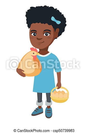 African girl holding a chicken and hen eggs. - csp50739983