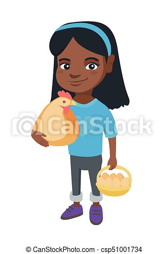 African girl holding a chicken and hen eggs. - csp51001734